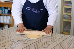 Helen shows us how to roll croissant dough