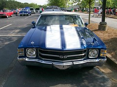 1971 CHEVELLE SS CONVERTIBLE (classicfordz) Tags: blue white chevrolet 1971 stripes ss rear convertible front chevelle chevy grille carshow lefttaillight braseltonbashcarshow