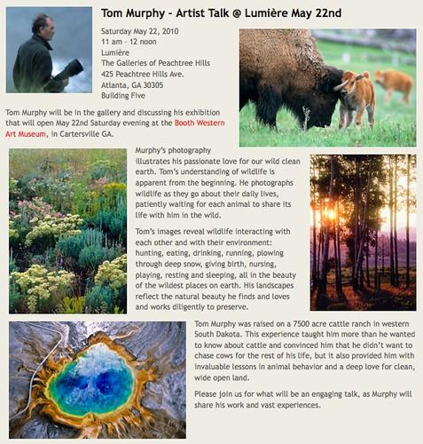 Tom Murphy Artist Talk at Lumiere, May 22nd