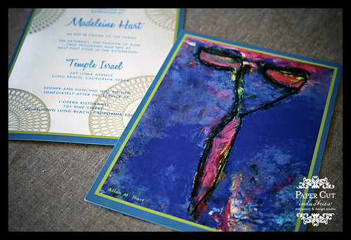 Custom Barmitzvah or Batmitzvah Invitations with a painting