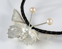 """""""Butterfly"""" Silver Necklace (EfratJewelry) Tags: silver handmade jewelry pearls jewellery pearl sterling 925 silversmith metalsmith sterlingsilver freshwaterpearls            efratjewelry"""