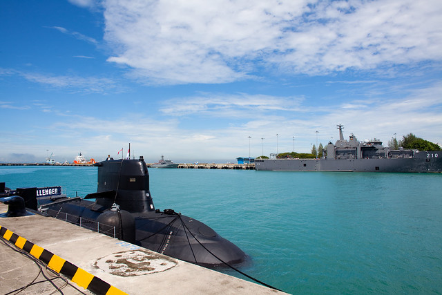 Singapore's first sub, the RSS Challenger, docked at Changi Naval Base. Photo by Lucian Teo, used under a Creative Commons License.