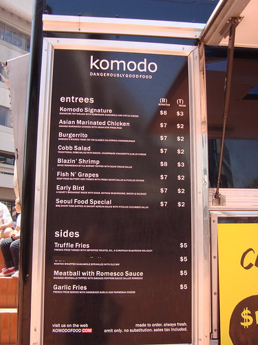 Menu @ The Komodo Truck