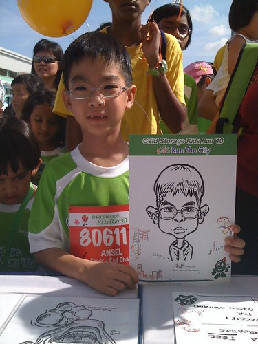 caricature live sketching for Cold Storage Kids Run 2010 - 7