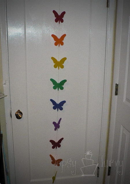 rainbow garden birthday party garland butterfly tutorial paper
