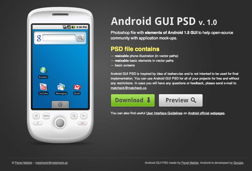 elements of Android 1.5 GUI