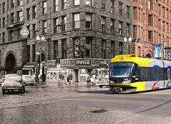 5th & Hennepin, Then and Now (MSPdude) Tags: minnesota sepia canon blueline minneapolis powershot photomontage beforeandafter lightrail streetcar bombardier hiawatha metrotransit lrv flexityswift s5is