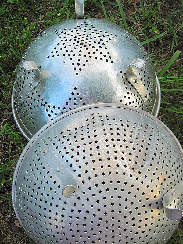 Old metal strainers