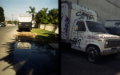 Three thumbs up (QsySue) Tags: street reflection truck graffiti diptych tag tags 35mmfilm ha thumbsup orangecounty thumbs hak mudpuddle gardengrove olympuspenee simer colorfilm briks dollarstorefilm 35mmcamera halfframecamera thumbass memories35mmfilm