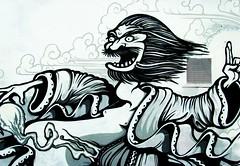 Street art in Preston (Tony Worrall Foto) Tags: street city uk england urban white streetart black color art wall outside graffiti design artwork mural artist colours northwest display north spray lancashire preston jap lancs theshipinn teaone fylderoad tonyworral graffitimuralarchive