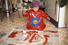 He just had to wear that hat when painting - 1973 (ARBaurial) Tags: city hat garden painting 1973 wgc welwyn