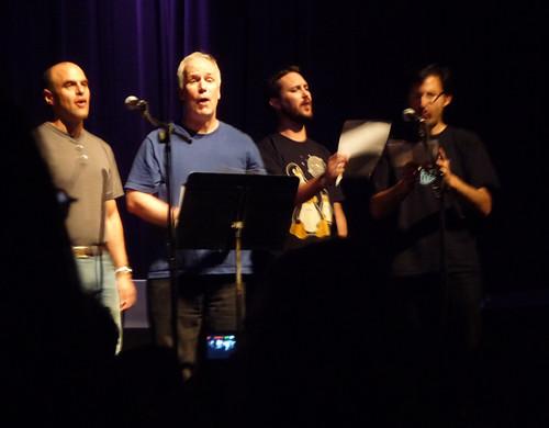 Peter Sagal, Bill Corbett (aka Crow T. Robot), Wil, & Storm