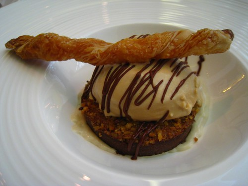 Chocolate Banana Sponge with Salted Caramel Ice Cream & Buttery Filo Stick