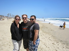 Shelley from Calgary, Tim & Sergio at Huntington Dog Beach. (05/22/2010)