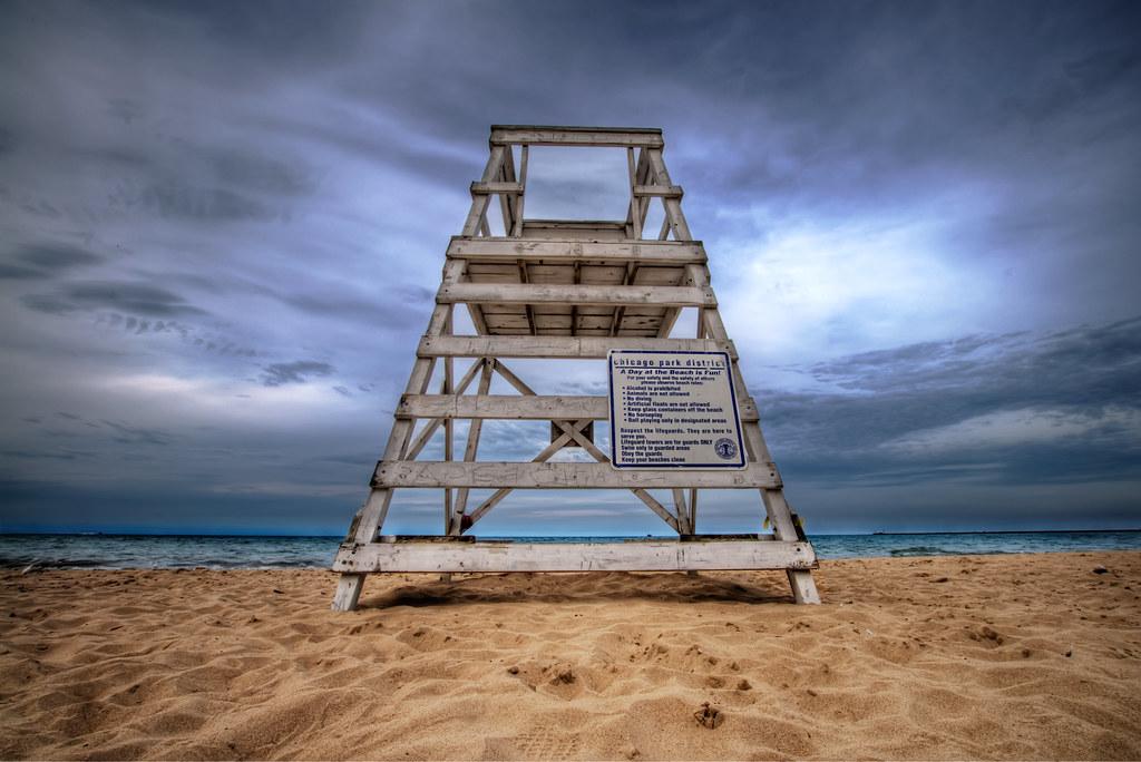 A lifeguard tower from Oak St. Beach.