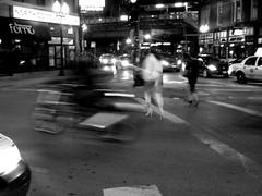1573 N. Damen Ave. (GXM.) Tags: street nightphotography urban bw wickerpark chicago motion blur night evening movement blurry focus raw gbrearview traffic legs boots north saturday crotch motorcycle logansquare damen wbez urbanphotography imperfect nighttraffic chicagoist chicagophotography bwchicago legtraffic newsixcorners