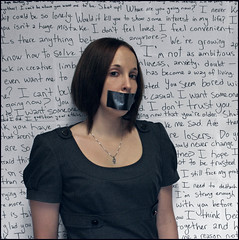 Silence, Censor, Restraint (K. Sawyer Photography) Tags: portrait woman selfportrait wall mouth words pain hand voice tape silence ducttape feminism relationships paranoia censor unsaid