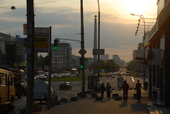 Evening at Pobedy Square (Gunnar the Grey) Tags: light ukraine