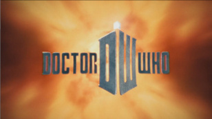 The title card for the current serial of Doctor Who. It says DOCTOR WHO with a red flame-like background