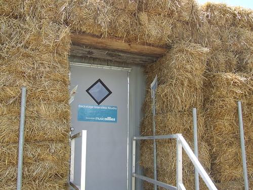 The hay-fortified Bonnaroo Radio studio