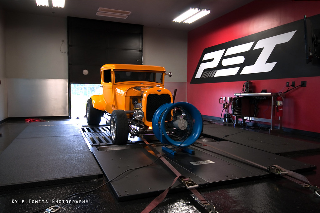 1929 Ford Coupe on dyno at PSI 2