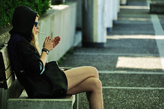Light Up My Cigarette (naza.carraro) Tags: street summer people girl lady switzerland swiss cigarette candid smoke zurich explore teen teenager frontpage