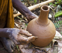 Making traditional coffee pot, Ethiopia (Izla Kaya Bardavid) Tags: africa people art coffee rural ceramic hands village hand south traditional culture ethiopia coffepot dorze