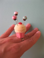 cupcake pincushion ring (Pinks & Needles (used to be Gigi & Big Red)) Tags: sculpture wool felted ring roving gigiminor pinksandneedles pintoppers pintopper pinksneedles