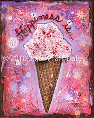 Happiness is (June Pfaff Daley) Tags: pink brown art collage print is mixed media purple cone cream happiness icre