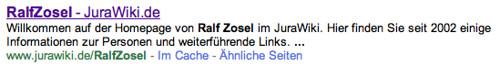"""Google-Eintrag Suche nach """"Ralf Zosel"""""""