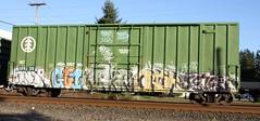Ansr - Gyroe - Retar - Task - Jevel (Rainier Beer 12oz) Tags: railroad urban art train graffiti paint track traintracks spray spraypaint graff traintrack railfan freight hof freighttrain trainart ofw graffi benched benching