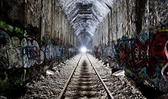 deep below (eb78) Tags: tunnel urbanexploration ue urbex abandoned bayarea sanrafael marin northbay ca california railway tracks traintracks nwp nwprr northwesternpacificrailroad railroad rails subterranean