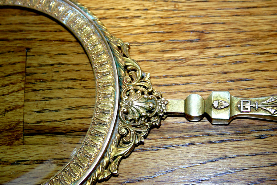 "Rare Victorian magnifying glass  - Over 14"" long  - Solid brass with powerful glass lense - 03"