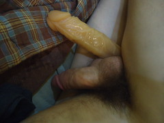 Dildo Between Legs (SmellyFeetBoy) Tags: dildo twink boy young small tiny big large size difference gay penis dick cock silicone solo homo homosexual veiny male man guy little fag faggot vibrator white hairy
