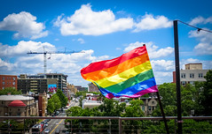 2017.07.02 Rainbow and US Flags Flying Washington, DC USA 7211