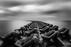 """Spine"" (WheresBusyB) Tags: beach blackandwhite clouds coast coastaldefence estuary lighthouse longexposure sand sea seaside minimalist"