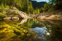Rukkedøla (Trond Strømme) Tags: glare reflections sunshine rukkedøla rukkedalen nesbyen landscape outdoor forest water stream river rocks