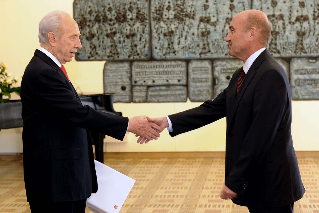 President Peres accepting the credentials of the new Turkish Ambassador, Mr.  Ahmet Oguz Celikkol