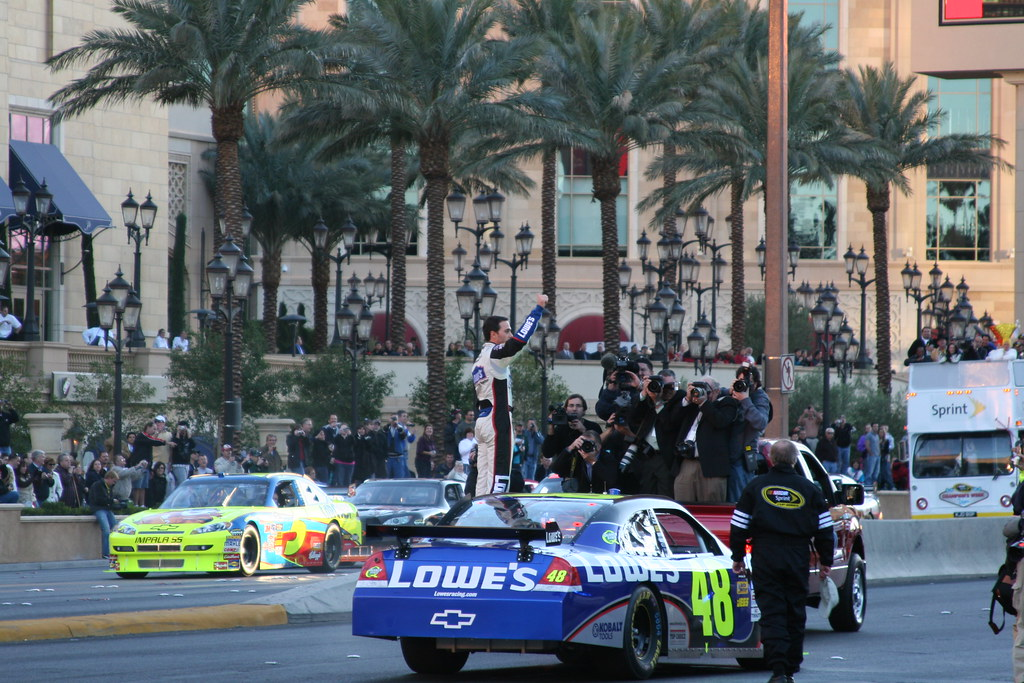 Jimmie gets out and takes a bow...after breaking his car.
