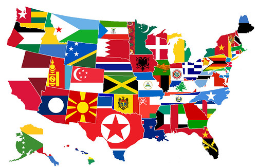 This Map By James Richards Overlays A Map Of The United States With The Flags Of Countries With Populations Equal To The Respective States