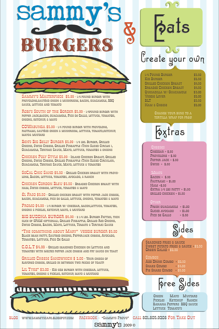 Sammys Food Menu 2009 -2010