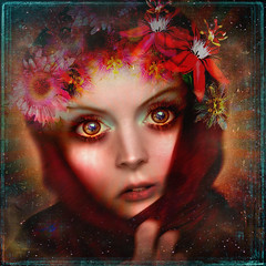 Red Riding Hood (MiaSnow) Tags: woman girl lady female digital photomanipulation photoshop digitalart textures digitalmanipulation digitalpictures artimage psart stockart miasnow textureplay heavilytextured stocktoart artandemotion miasnowart