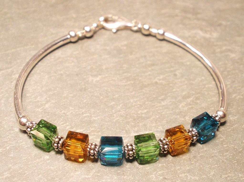 Crystal Cube Sterling Silver Bracelet