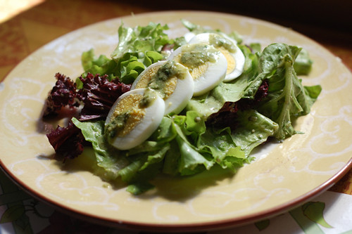 Salad with basil pesto vinaigrette
