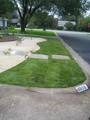 Grass and gravel separated by metal edging with concrete sidewalk pads