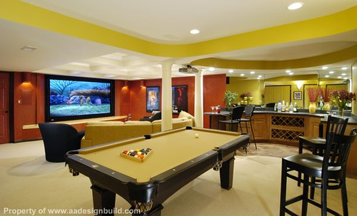 Aadesignbuild Custom Design And Remodeling Ideas Finished Basement Home Theater Wet Bar Pool Table Play Room Lighting Ceiling