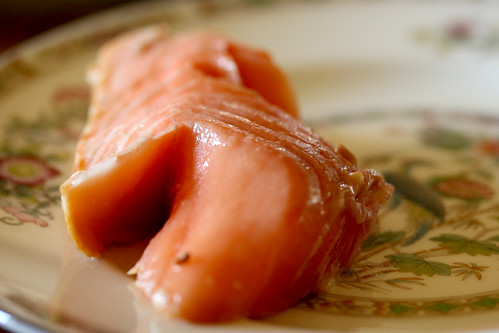 Smoked salmon on plate