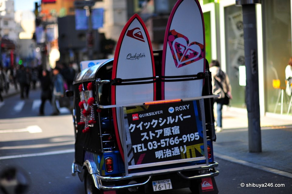 The surfboards pass through the streets between Seibu Department store and on towards Tokyu Hands.