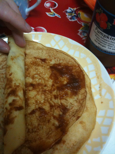 Swedish Pancakes with pumpkin butter
