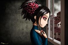 """Some other time"" (CARLESMARSAL.COM) Tags: flores digital pared casa lluvia chica ipod cuento pueblo mp3 nia triste tormenta habitacin dibujo mirada msica melancola ilustrador personaje ilustracin escena oscuro dibujante carlesmarsal"